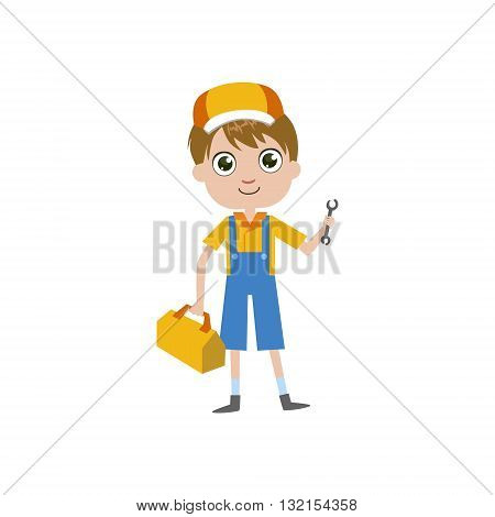 Boy Future Plumber Simple Design Illustration In Cute Fun Cartoon Style Isolated On White Background