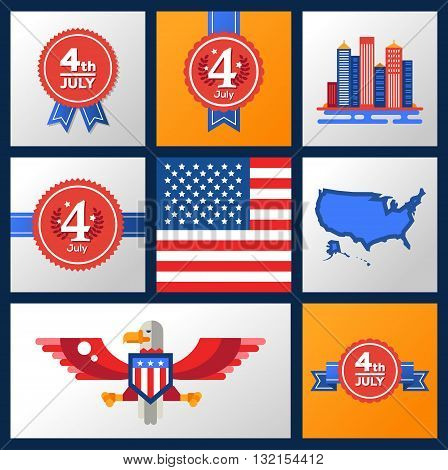 Modern vector USA Independence Day badges set with famous American symbols. Flag, eagle, map, 4th oh July