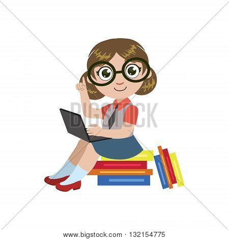Girl In Glasses Reading Colorful Simple Design Vector Drawing Isolated On White Background