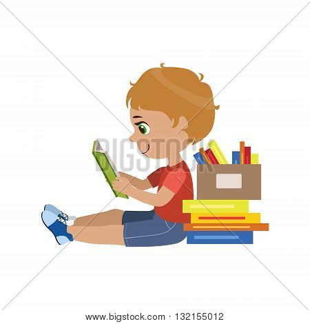 Boy Reading A Book Colorful Simple Design Vector Drawing Isolated On White Background