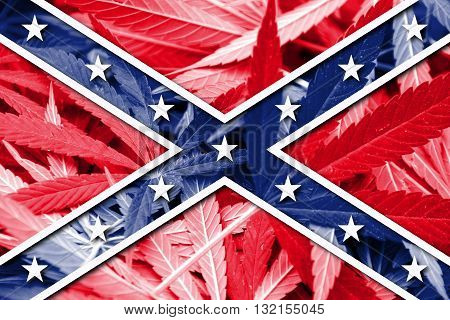 Confederate Flag on cannabis background. Drug policy. Legalization of marijuana
