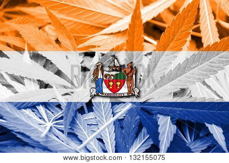 Flag Of Albany, New York, On Cannabis Background