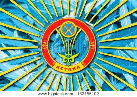 Flag of Astana on cannabis background. Drug policy. Legalization of marijuana