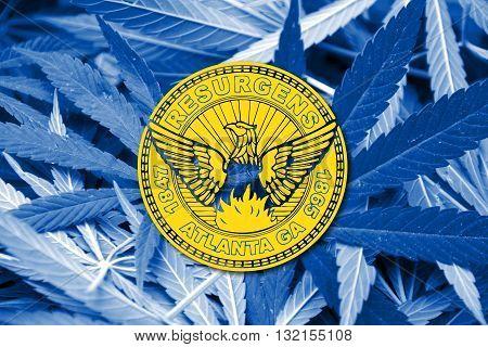 Flag Of Atlanta, Georgia, On Cannabis Background