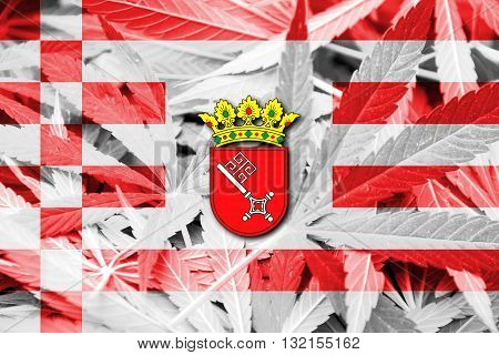 Flag Of Bremen With Coat Of Arms, On Cannabis Background
