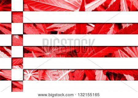 Flag of Bremen on cannabis background. Drug policy. Legalization of marijuana
