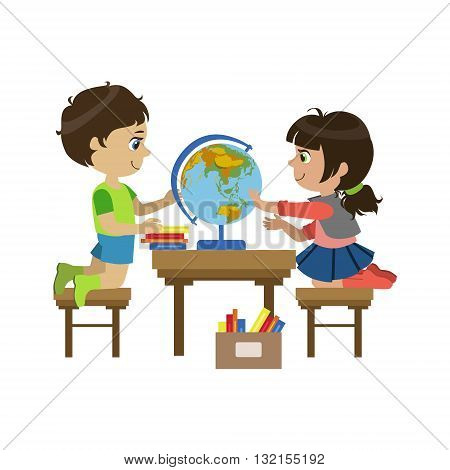 Boy And Girl With The Globe Colorful Simple Design Vector Drawing Isolated On White Background