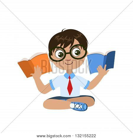 Boy Reading Two Books At The Same Time Colorful Simple Design Vector Drawing Isolated On White Background