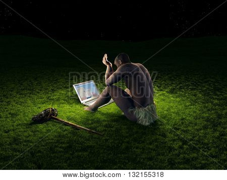 Primitive man with a laptop on a background of green grass.3d render