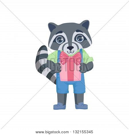 Boy Raccoon With The Present Colorful Illustration In Cute Girly Cartoon Style Isolated On White Background
