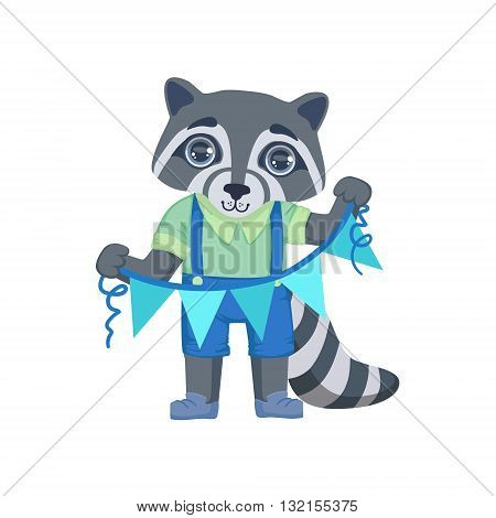 Boy Raccoon With Garland Colorful Illustration In Cute Girly Cartoon Style Isolated On White Background