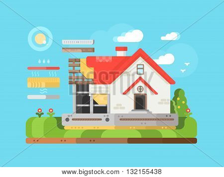 Construction of private houses flat. Modern construction and architecture real property, vector illustration