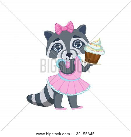Girl Raccoon With Cupcake Colorful Illustration In Cute Girly Cartoon Style Isolated On White Background