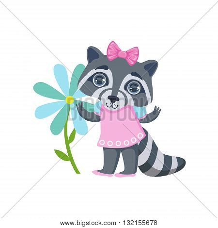 Girl Raccoon With Giant Flower Colorful Illustration In Cute Girly Cartoon Style Isolated On White Background