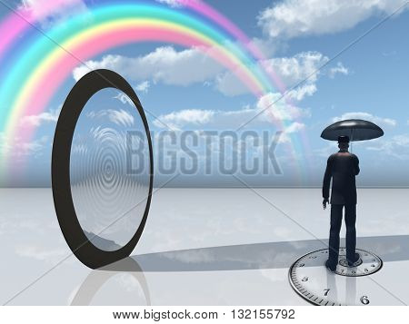 man with umbrella and mirror opening 3D Render