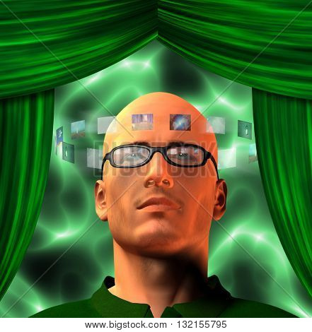 Images encircle mans head 3D Render