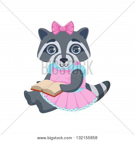 Girl Raccoon With Book Colorful Illustration In Cute Girly Cartoon Style Isolated On White Background