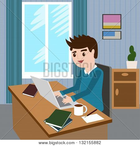 Flat design modern vector illustration lifestyle concept of handsome man in casual T-shirt sitting at the desk and working on laptop in the office. Isolated on stylish background. Vector illustration