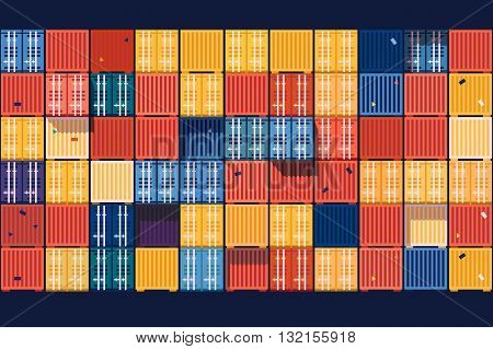 Containers background flat. Industrial cargo transportation, export commercial business, vector illustration