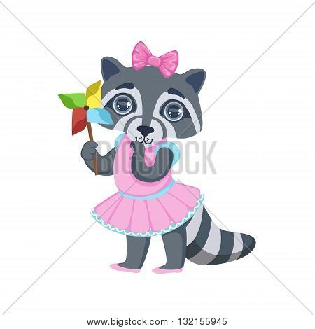 Girl Raccoon With Origami Toy Colorful Illustration In Cute Girly Cartoon Style Isolated On White Background