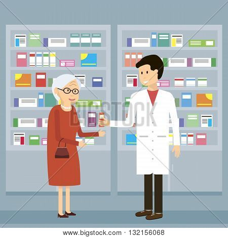 Man pharmacist shows an old woman medicine in the pharmacy. Health care concept. Vector flat design illustration