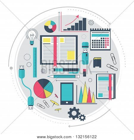 Icons of search engine optimization service, SEO data analytics and keyword process. Modern concept for website or infographics. The working process. Modern technologies. Line art. Vector illustration