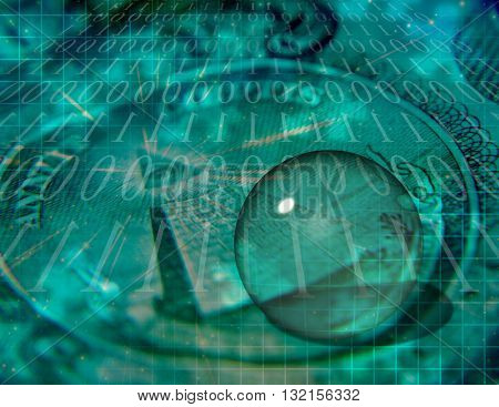 Binary COde and US Currency Abstract 3D Render