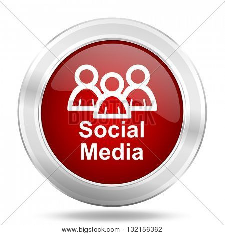 Social Media icon. Red round glossy metallic button. Web and mobile app design illustration