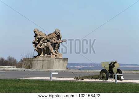 HRABYNE, CZECH RPUBLIC - APRIL 9, 2012: Statue of Soldiers The World War II. National Memorial Hrabyne, on April 9, 2012 in Hrabyne, Czech Republic
