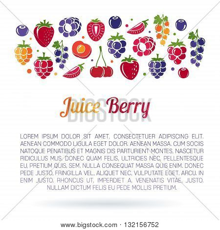 Juice Berry. Flayer with copyspace and border from berries