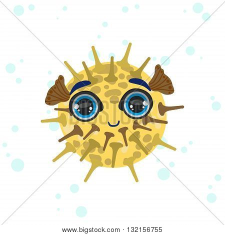 Porcupine Fish Bright Color Cartoon Style Vector Illustration Isolated On White Background