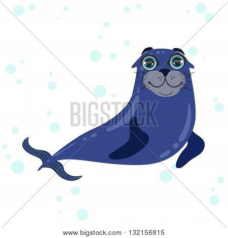 Sea Lion Bright Color Cartoon Style Vector Illustration Isolated On White Background