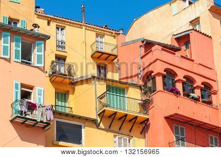 Old colorful houses in Menton - small town on French Riviera.