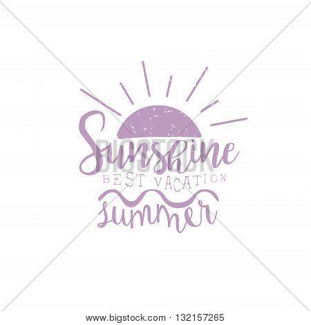 Summer Holydays Violet Vintage Emblem Creative Vector Design Stamp With Text Elements On White Background