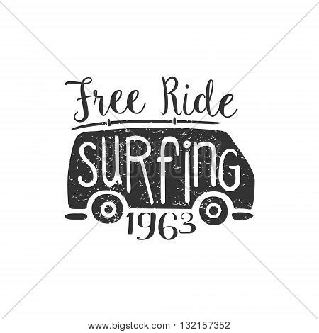 Summer Holydays Vintage Emblem With Trailer Creative Vector Design Stamp With Text Elements On White Background
