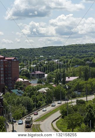 Aerial View of strit and tram in Pyatigorsk, Caucasus,Russia.