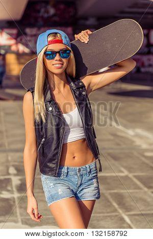 Beautiful Skateboarding Girl