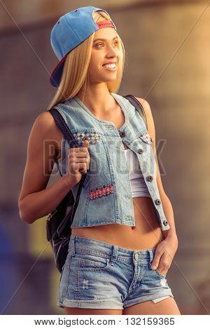 Beautiful Girl In Street Style