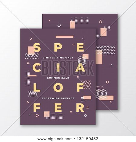 Special Offer Sale Poster, Card or Flyer Template. Modern Abstract Flat Swiss Style Background with Decorative Stripes and Modern Typography. Creative Mild Colors. Soft Realistic Shadows. Isolated.