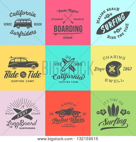 Vector Retro Style Surfing Labels, Logos or T-shirt Graphic Design Featuring Surfboards, Surf Woodie Car, Motorcycle Silhouette, Helmet and Flowers. Isolated. Good for Posters etc. On Colorful Squares
