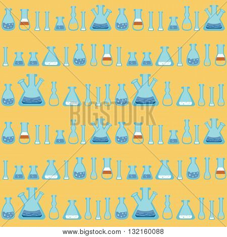A seamless vector pattern with stylized bottles and test-tubes, on orange background.