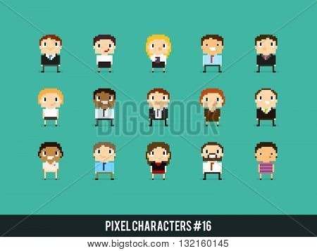 Pixel art 8-bit business people office characters with different gender skin color and appearance