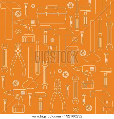 Handyman Tools Vector Backgrounds. Amenities repair house hold equipment fixing icon set in line style. Vector graphics for plumbing, fixing, renovation, tools. Sample text. Editable