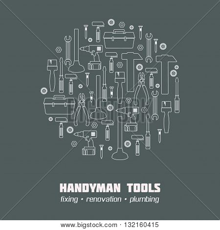 Handyman Tool banner, icon set, web site elements. Amenities repair house hold equipment fixing symbols. Vector graphics for working tools, plumbing, renovation concept. Sample text. Editable