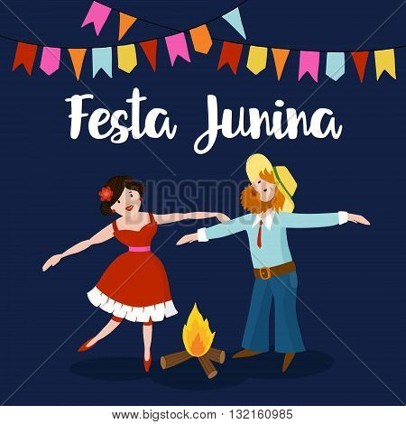 Festa junina. Brazilian june party. Boy and Girl dancing around fire at Brazilian june party. Party decoration flags. Vector illustration background.