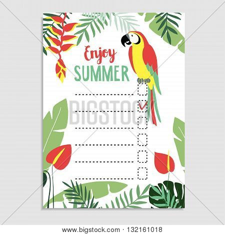Summer greeting card invitation. Wish list. To do list. Parrot bird palm leaves anthurium flowers. Web banner background. Stock vector illustration. Flat jungle design.
