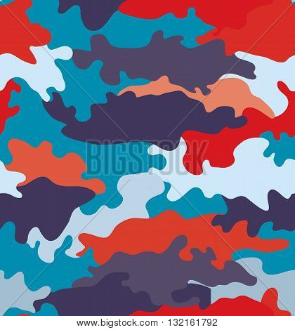 Romantic trend style camouflage blue and red seamless pattern