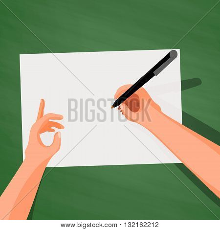 Hands on the table writing on a sheet of paper, top view in the style of Cartoon and flat, isolated on a white background