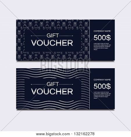 Template gift voucher. Vector template for design. Gift card. Gift coupon. Discount coupon. Template for text. Premium template. Business template. Silver background. Special offer for the customer