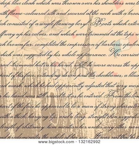 Vintage text pattern. Set of words and text backgrounds applicable in printing textiles art objects wooden texture. Eiffel tower silhouette. Paris style. France vintage. Hearts and love.